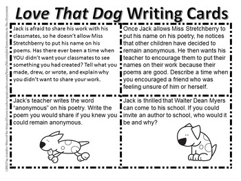 Love That Dog And Hate That Cat Reading and Writing Task Card Bundle