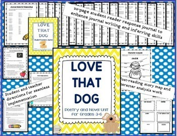 Love That Dog Poetry Novel Unit for Grades 3-6 Common Core Aligned
