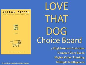 Love That Dog Choice Board Menu Novel Study Activities Book Project