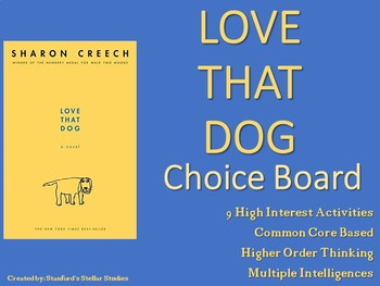 Love That Dog Choice Board Menu Novel Study Activities Boo