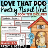 Poetry Unit: Love That Dog Poetry Activities and Book Test | Digital Included