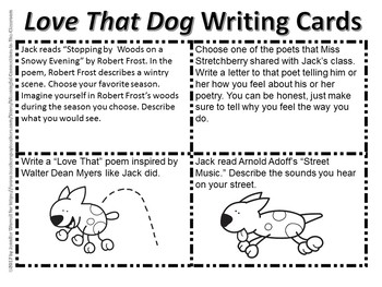 Love That Dog Reading Comprehension and Writing Task Cards