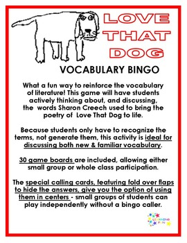 Love That Dog Vocabulary Bingo