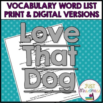 Love That Dog Vocabulary Word List