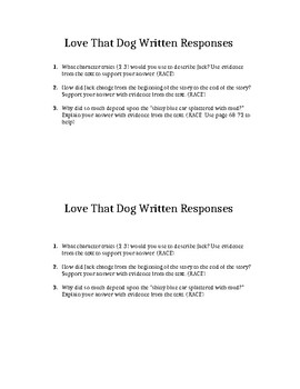 Love That Dog Written Response Test