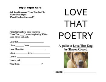 "Love That Poetry, a Novel Study Guide for ""Love That Dog"""