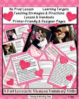 Language Arts Summary Skills Engaging Love-Theme for Middle & High School