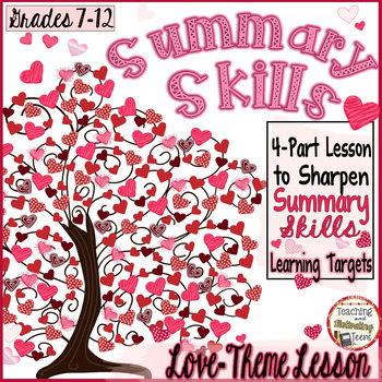 Valentine's Day ELA Summary Skills Engaging for Middle & H