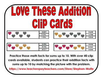 Love These Addition Clip Cards
