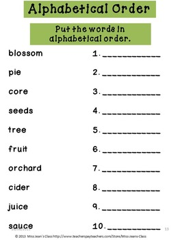 Literacy Booklet with BONUS 3D Apple Activity - Love Those Apples!