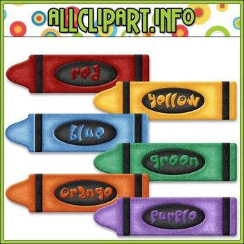 BUNDLED SET - Love To Learn Colors Crayons Clip Art & Digital Stamp Bundle