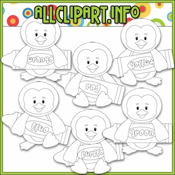 BUNDLED SET - Love To Learn Colors Penguins Boys Clip Art & Digital Stamp Bundle