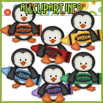 BUNDLED SET - Love To Learn Colors Penguins Boys Clip Art