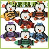BUNDLED SET - Love To Learn Colors Penguins Girl Clip Art & Digital Stamp Bundle