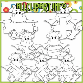 BUNDLED SET - Love To Learn Math Dragon Boys Clip Art & Digital Stamp Bundle