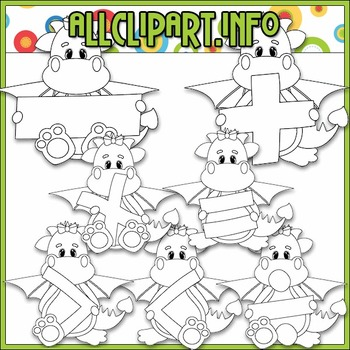 BUNDLED SET - Love To Learn Math Dragon Girls Clip Art & Digital Stamp Bundle