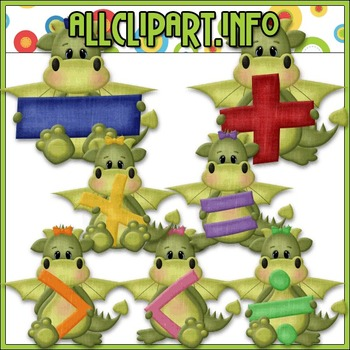 BUNDLED SET - Love To Learn Math Dragon Girls Clip Art & D