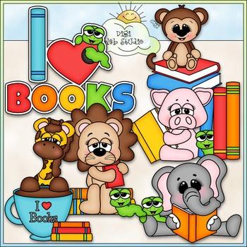 Love To Read Animals Clip Art - Animals Reading Clip Art - CU Clip Art & B&W