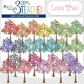 Love Trees Digital Clipart / Graphics