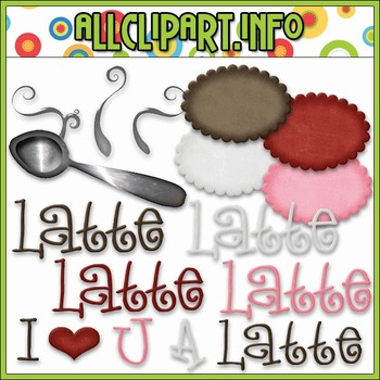 BUNDLED SET - Love U A Latte Accents Clip Art & Digital St