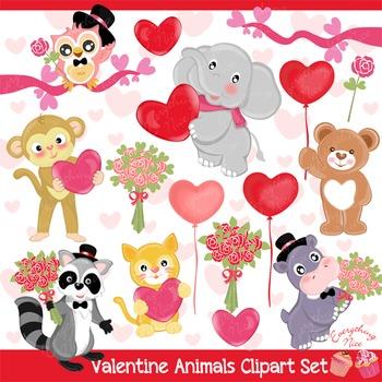 Love Valentine Animals Clipart Set