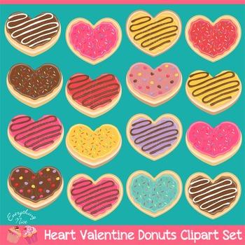 Love Valentine Heart Donuts Clipart Set
