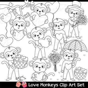 Love Valentine Monkeys Clipart Set
