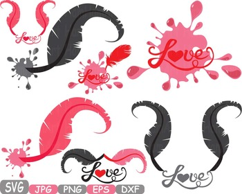 Love Vows / Feathers Love clip art svg flying birds heart Valentine quote  -212s