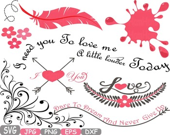 Love Vows clip art Feathers Wings Ink dream lyrics memorial quote Valentine 214s