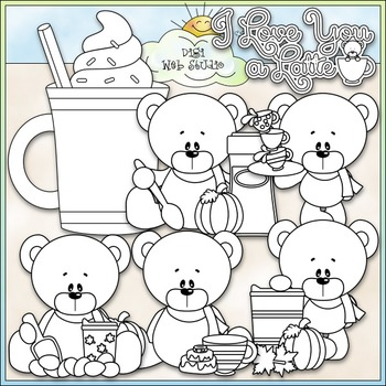 Love You A Latte Bears Clip Art (Autumn / Fall Teddy Bears) - CU Clip Art & B&W