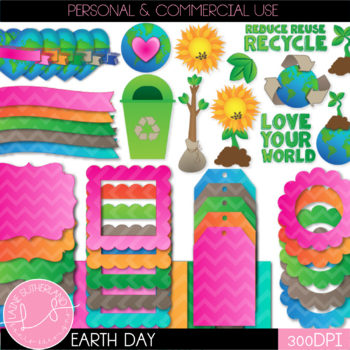 Love Your Earth Earth Day Clip Art, Digital Paper and Accent Set
