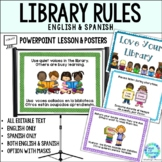 Library Skills School Media Center Rules in English and Spanish