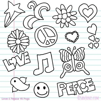 Love and Peace Clip Art - San Jones Hand Drawn - Digital Stamps Line Art