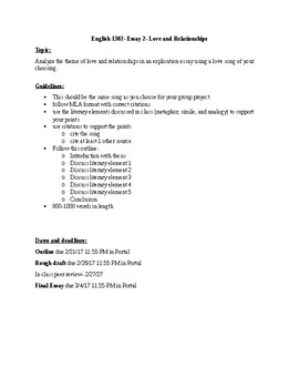 Love and Relationships Essay Assignment