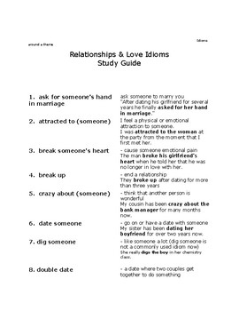 Dating relationships worksheets