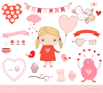 Love clip art set, Cute Valentine clipart, Girl, banner, bunting, cupcake, heart