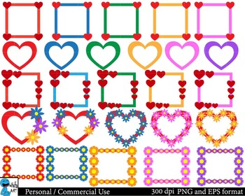 Love frames Digital Clip Art Graphics Personal, Commercial Use 26 images cod104