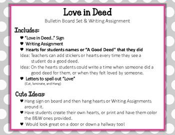Love in Deed. Bulletin Board Set Idea. Love is an Action Word!