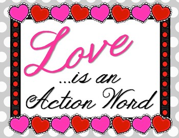 Love in Deed. Bulletin Board Set Idea. Love is an Action Word!