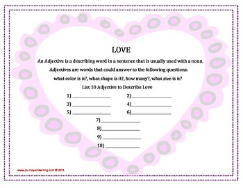 Love is ... Adjectives