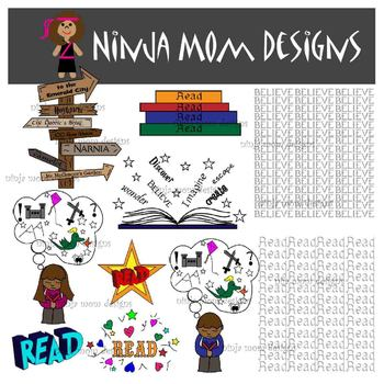Love of Reading Clip Art- 21 Images with Digital Papers- Color and Black Line