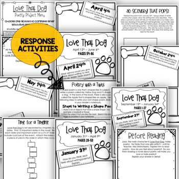 Love that Dog Novel Study Resource Guide - Journal, Quizzes, Vocabulary Cards