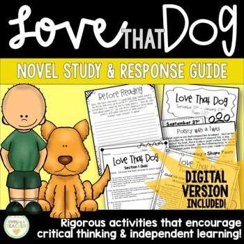 Love that Dog Novel Study Resource Guide - Journal, Quizze