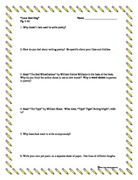 """""""Love that Dog"""", by S. Creech, Comprehension Questions/Test"""