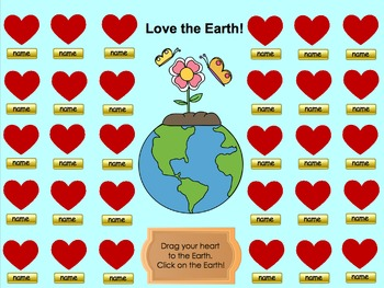 """""""Love the Earth"""" Earth Day Themed SMART Board Attendance A"""