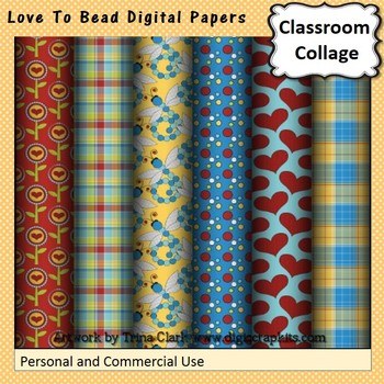 Love to Bead Digital Papers Set  personal & commercial use