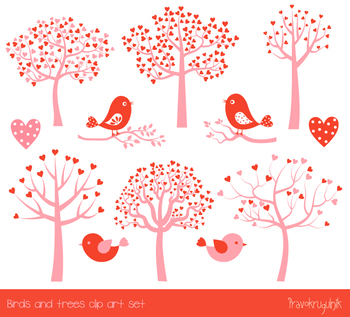 Love tree and birds clipart, Cute pink and red Valentine clip art heart branch