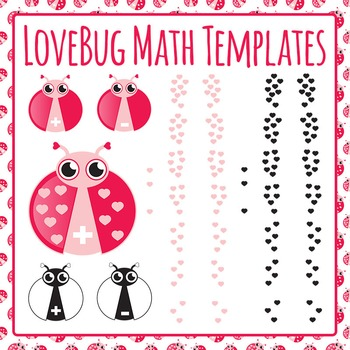 LoveBug Math Templates - Addition and Subtraction 0-9 Commercial Use Clip Art