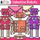 Robot Valentine Clip Art {Cute Toy Lovebots for Worksheets & Teacher Resources}