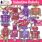Robot Valentine Clip Art {Cute Toy Lovebots for Worksheets